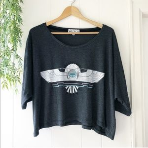 Wildfox Oversized Cropped Graphic Tee XS